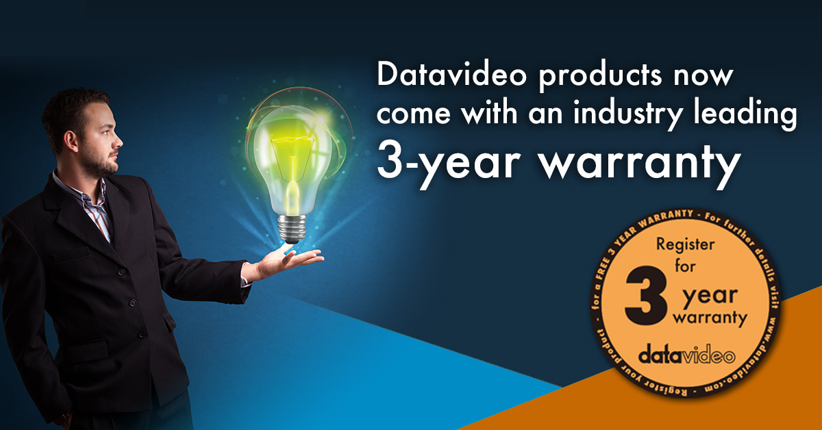 Datavideo products now come with an industry leading 3-year warranty